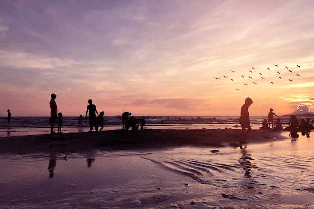 Silhouettes of people in tropical beach at evening time.