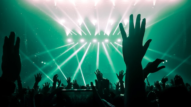 Silhouettes of raised hands at a music concert or festival