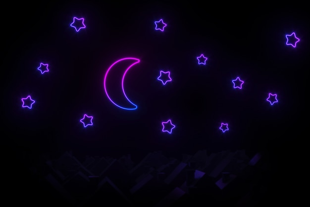 Silhouettes of small village houses with pitched roofs illuminated by neon moon and stars 3d illustration