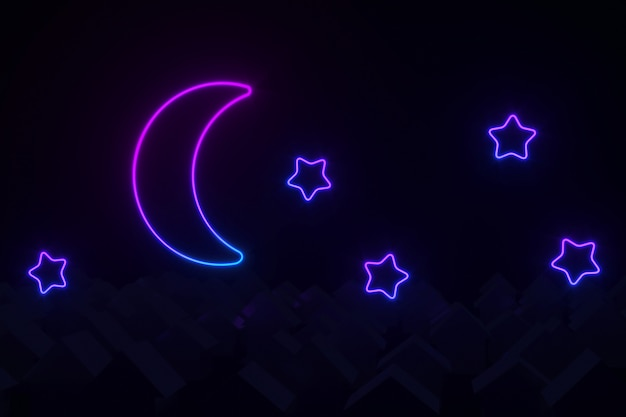 Silhouettes of small village houses with pitched roofs illuminated by neon moon and stars