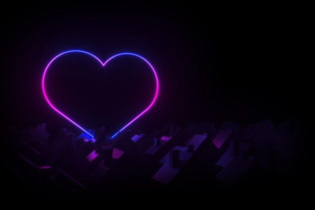 Silhouettes of small village houses with pitched roofs illuminated silhouette neon heart 3d illustration