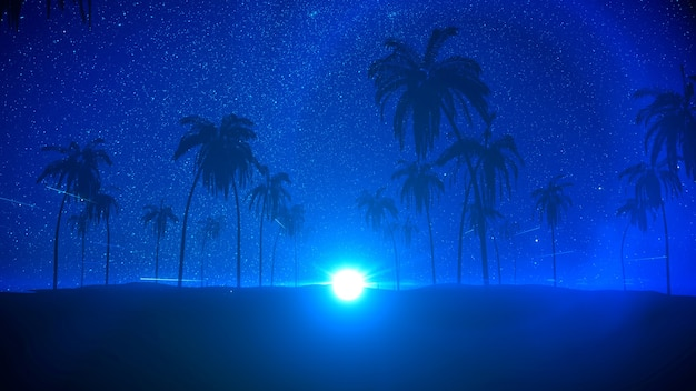 Silhouettes of tropical summer night with palm trees star and moon 3d render night beach party