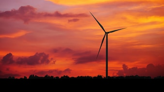 Silhouettes Wind turbine power generators at sunset