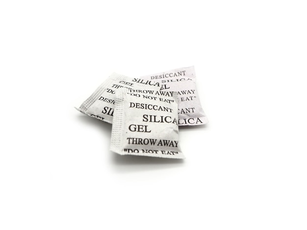 Silica gel packets isolated on a white background.