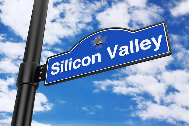 푸른 하늘 배경에 실리콘 밸리도로 표지판. 3d 렌더링