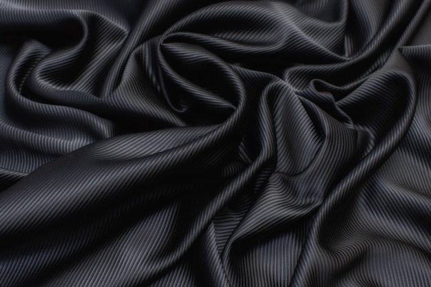 Silk fabric cadi black color in the artistic layout
