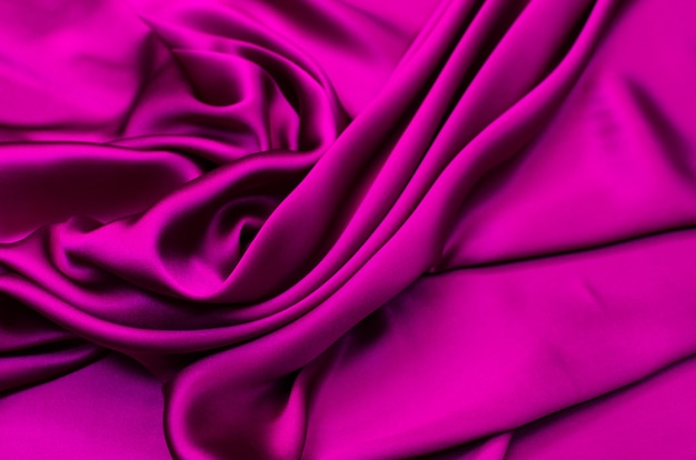 Silk fabric, fuchsia satin