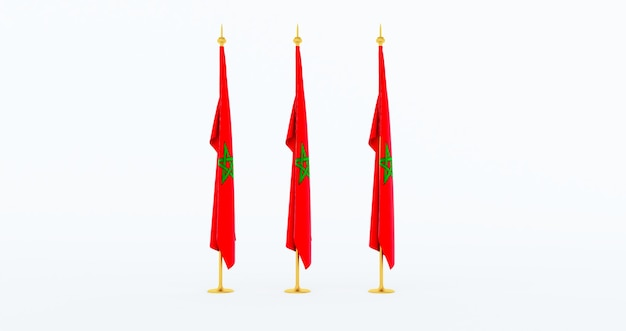Silk flag of morocco isolated on white background. fabric flag of morocco. 3d render