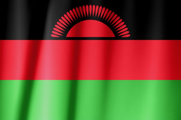 マラウイの絹の旗。シルク生地のマラウイの旗。