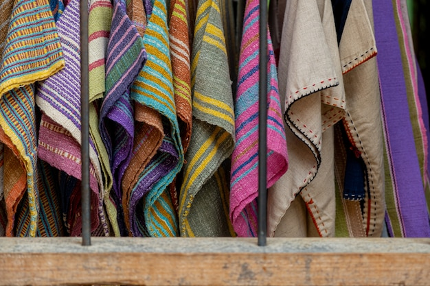 The silk is woven in a variety of colors.