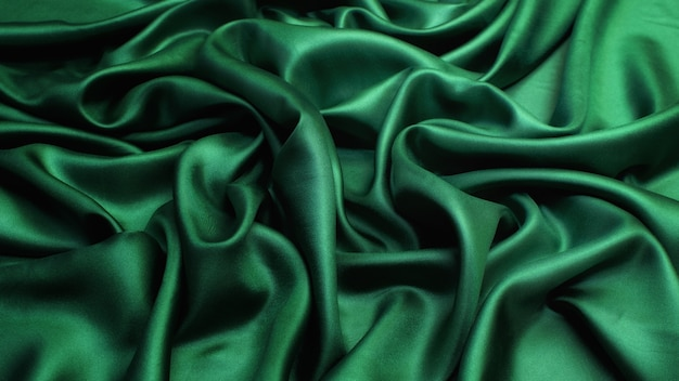 Silk satin fabric green colour texture background