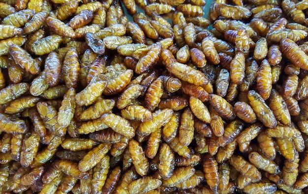 Silkworm pupae in a market