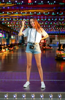 Silly woman at bumper cars