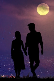 Siluette、満月の夜の恋人。