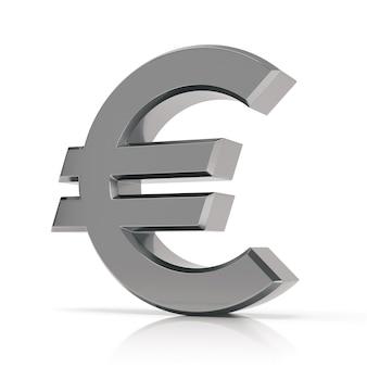 白い背景で隔離の銀の3dユーロ記号。