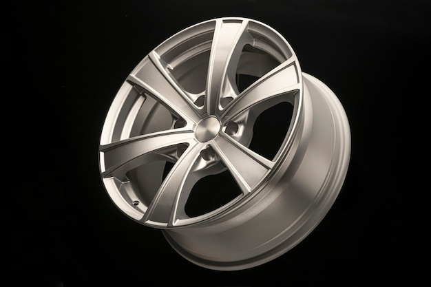 Silver alloy wheel for crossovers and suvs, close-up