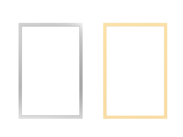 흰색에 고립 된 은색과 황금색 사진 프레임