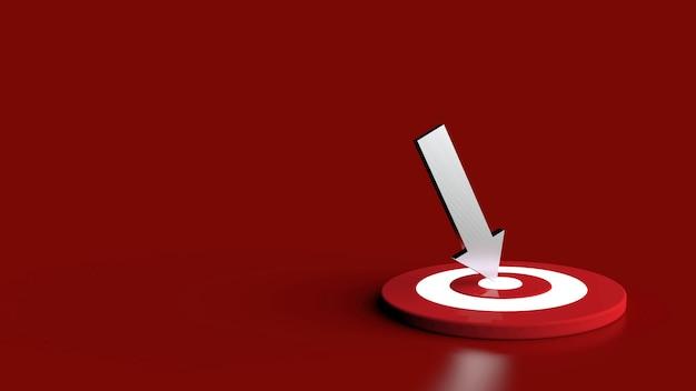 Серебряная стрела попала в цель. бизнес-концепция. 3d иллюстрации.