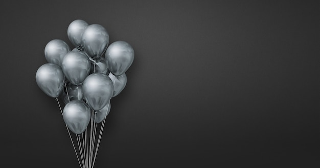 Silver balloons bunch on a black wall background. horizontal banner. 3d illustration render