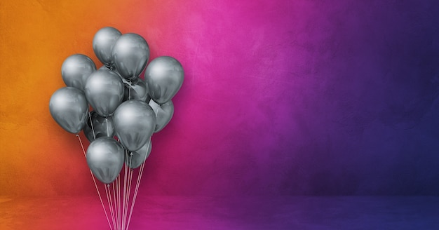Silver balloons bunch on a rainbow wall background. horizontal banner. 3d illustration render