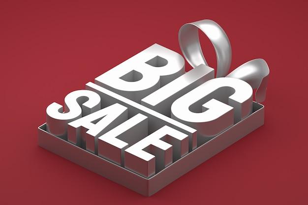Серебряная большая распродажа 3d дизайн-рендеринг для продвижения продажи с бантом и лентой на красном изолированном фоне