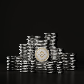 Silver binance (bnb) coins pile in black scene, digital currency coin for financial, token exchange promoting. 3d rendering