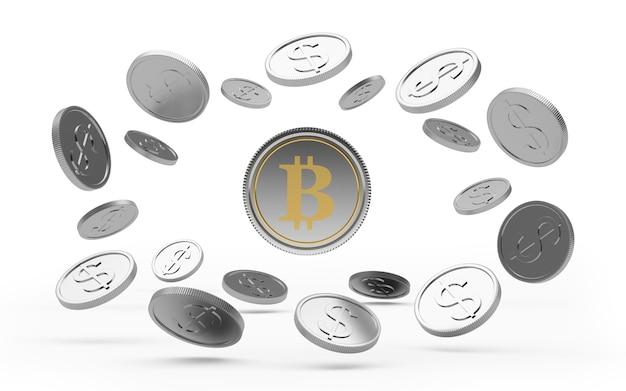 Silver bitcoin coin in a circle of dollar coins