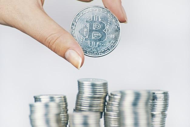 Silver bitcoin coin.