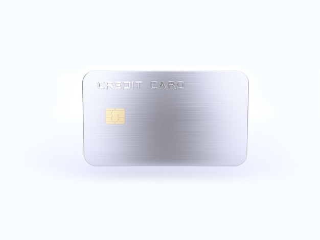 Silver blank credit card  3d rendering