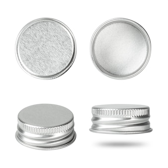 Silver bottle cap isolated on white background. group of beverage lid for your design.