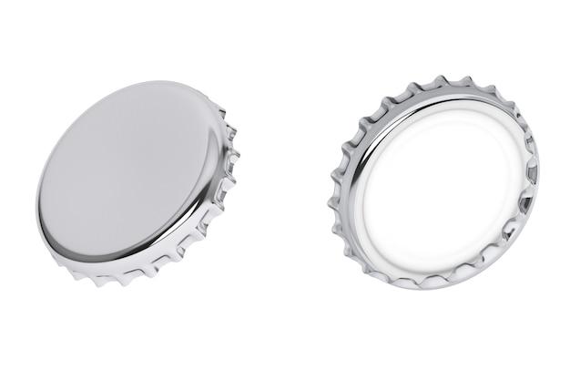 Серебряные крышки от бутылок на белом фоне