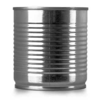 Silver can isolated on white background.