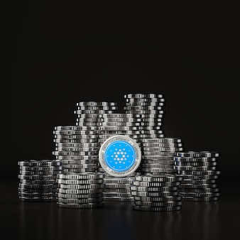 Silver cardano (ada) coins pile in black scene, digital currency coin for financial, token exchange promoting. 3d rendering