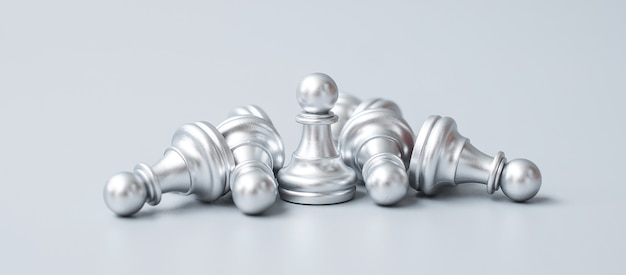Silver chess pawn figure stand out from crowd of enermy