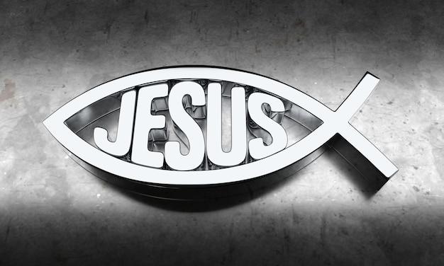 Серебряный знак рыбы христа. 3d-рендеринг