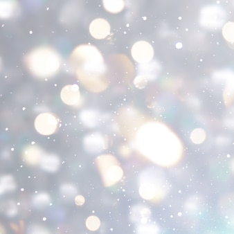 Silver christmas background with bokeh lights