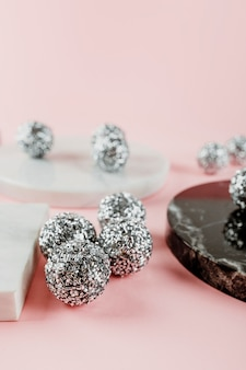 Silver Christmas garland balls