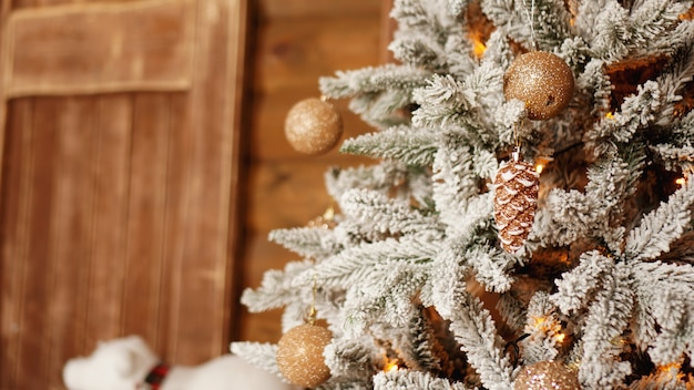 Silver christmas tree with golden balls