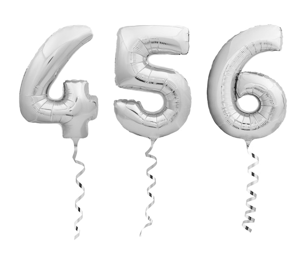 Silver chrome numbers 4, 5, 6 made of inflatable balloons with ribbons isolated on white background