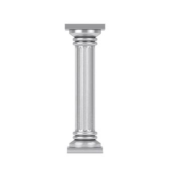 흰색 바탕에 은색 클래식 그리스 기둥 받침대. 3d 렌더링