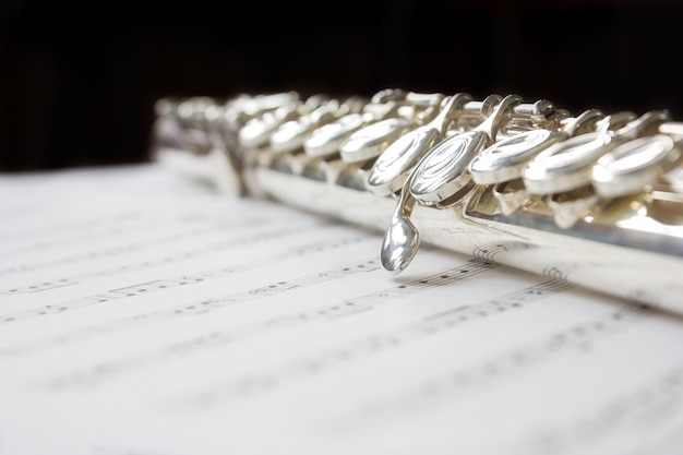 Silver clean flute on sheet music with copy space