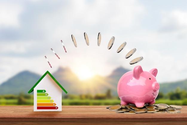 은화는 에너지 효율적인 가정 모델에서 돼지 저금통으로 흐릅니다.