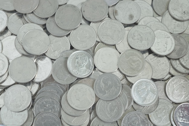 Silver coins one baht in top view