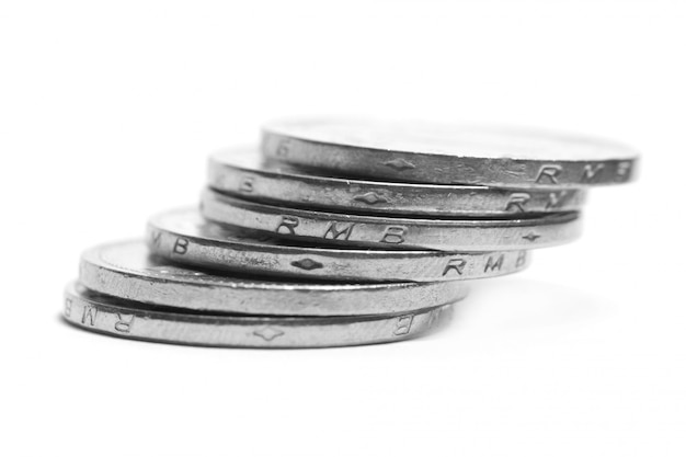 Silver coins stacked