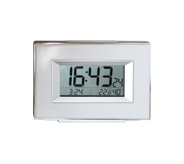 プラスチック素材で作られたシルバーカラーのデジタル時計