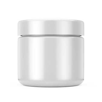 Silver cosmetic jar with lid for cream or gel mockup on a white background. 3d rendering