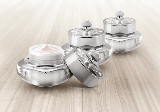 Silver cosmetic jars