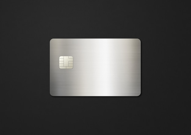 Silver credit card template on a black background d illustration