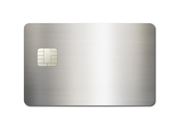 白い背景で隔離の銀のクレジットカードテンプレート。 3dイラスト
