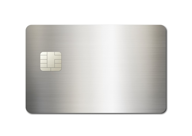 Silver credit card template isolated on a white background. 3d illustration